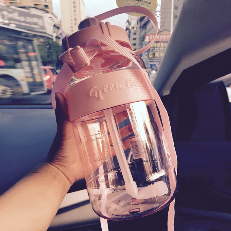 台湾绿贝大容量水杯水壶户外便携运动大水杯带吸管塑料水瓶太空杯
