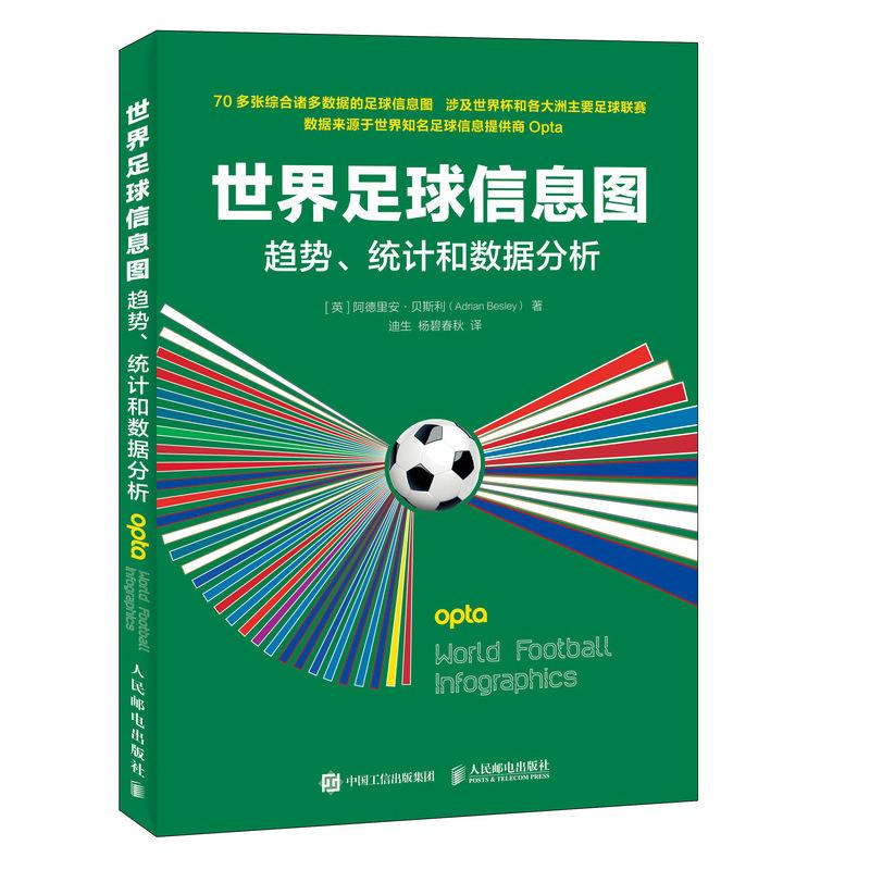 世界足球信息图趋势统计和数据分析 可视化图表 世界杯球赛赛事进球数据统计分析 战术分析书 整合欧洲知名体育数据公司Opta数据书