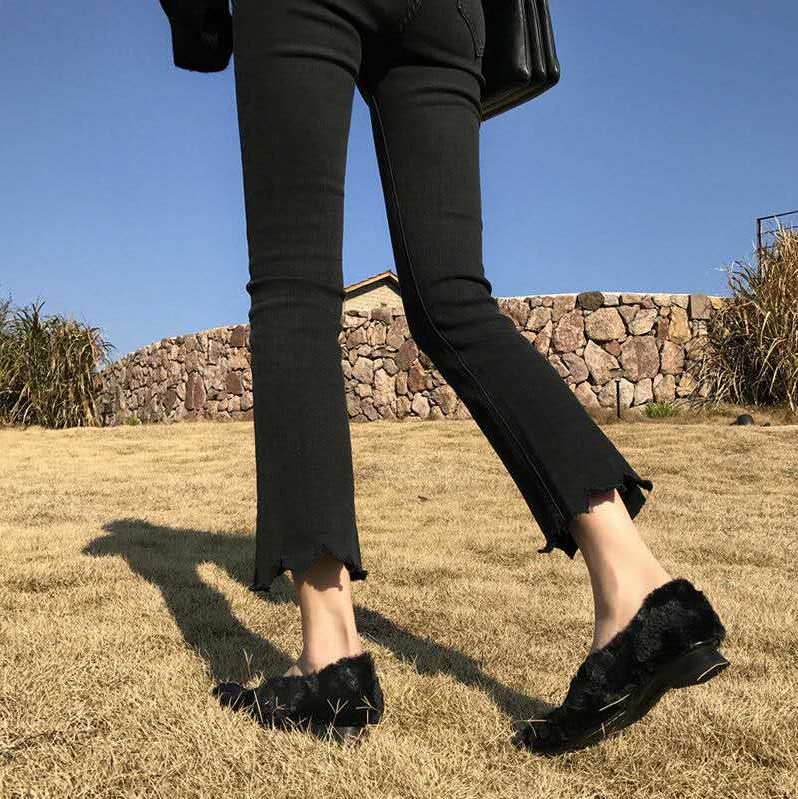 Black micro flared jeans womens nine point wide legs show thin autumn high waist flared pants Student Korean version loose