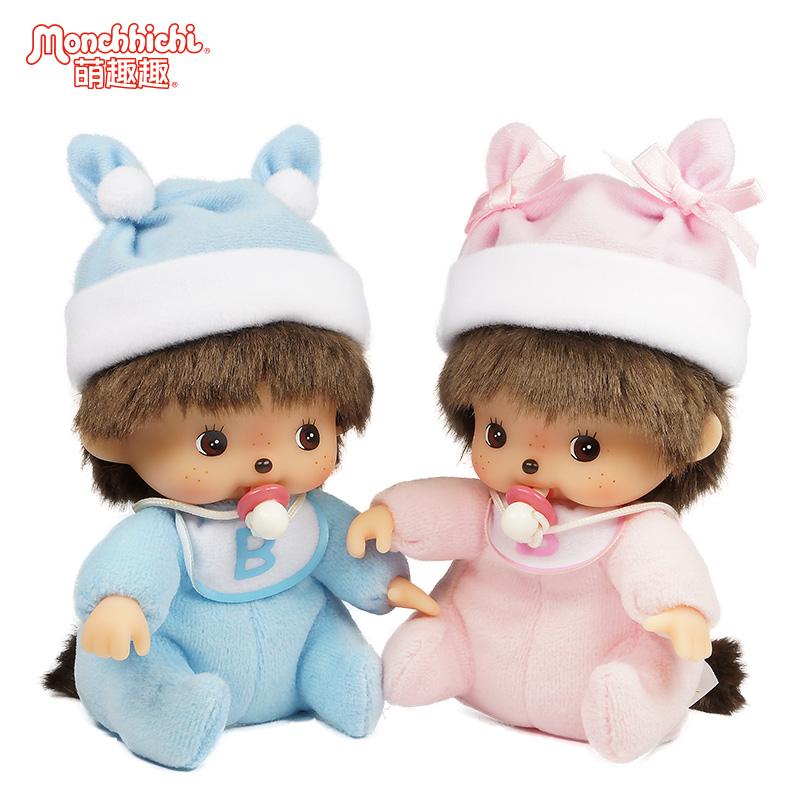 Monchhichi萌趣趣娃娃Bebichhichi毛�q公仔玩具��号佬型尥尥媾�