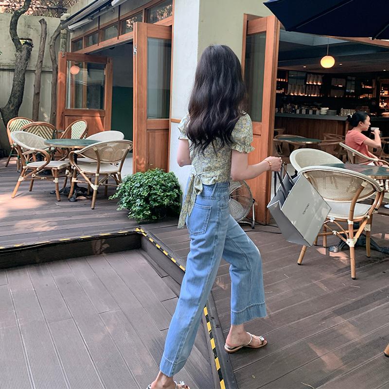 新款长裤天丝牛仔裤女宽松夏季直筒九分薄款高腰阔腿77store2021