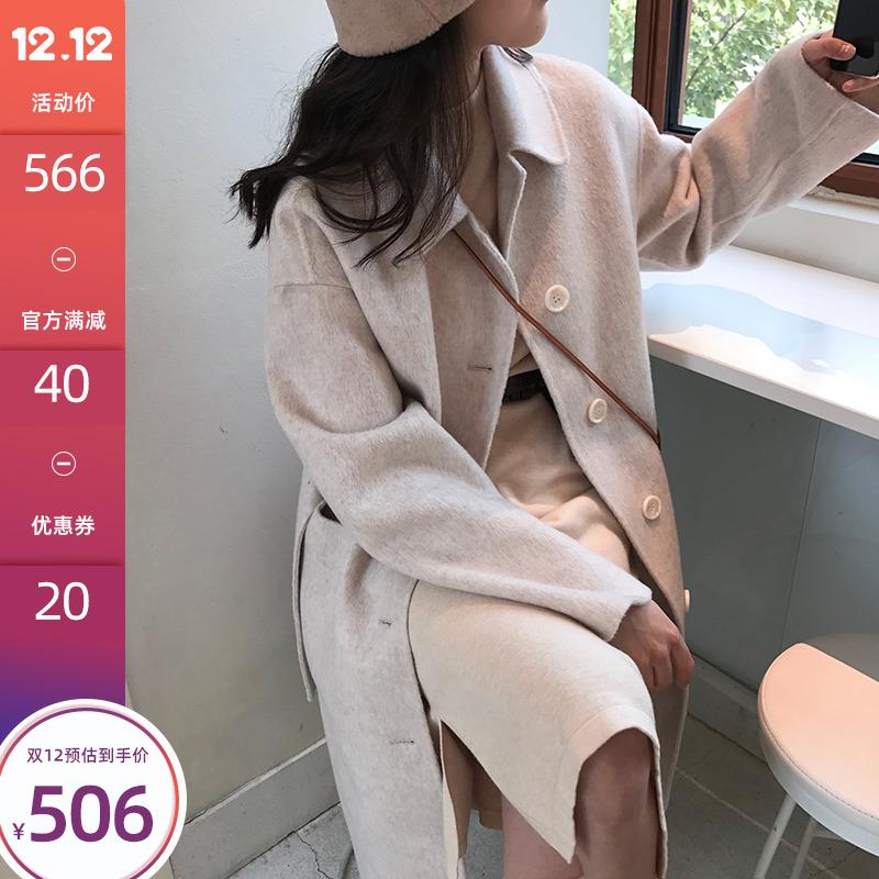 77store 双面羊绒大衣女中长款2019年秋冬新款高端过膝羊毛呢外套