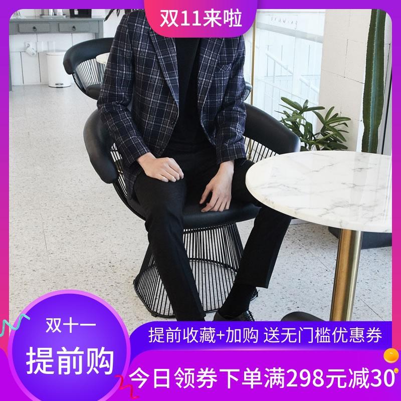 古潇2019秋冬复古格子西装男休闲