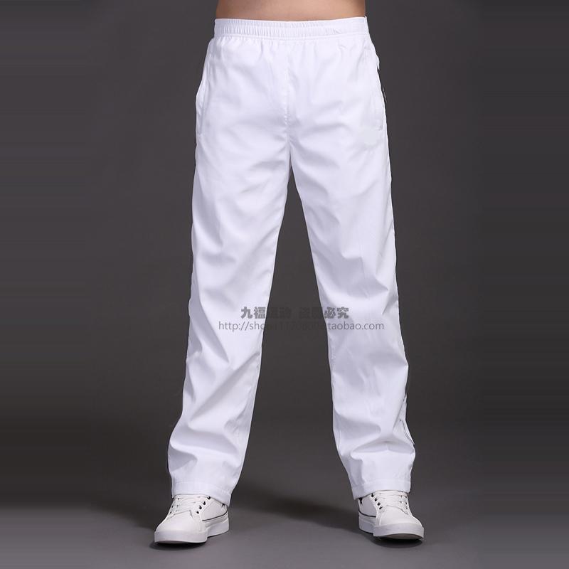 男士涤纶长裤男裤子夏季薄款运动裤修身直筒宽松青年休闲裤 白色