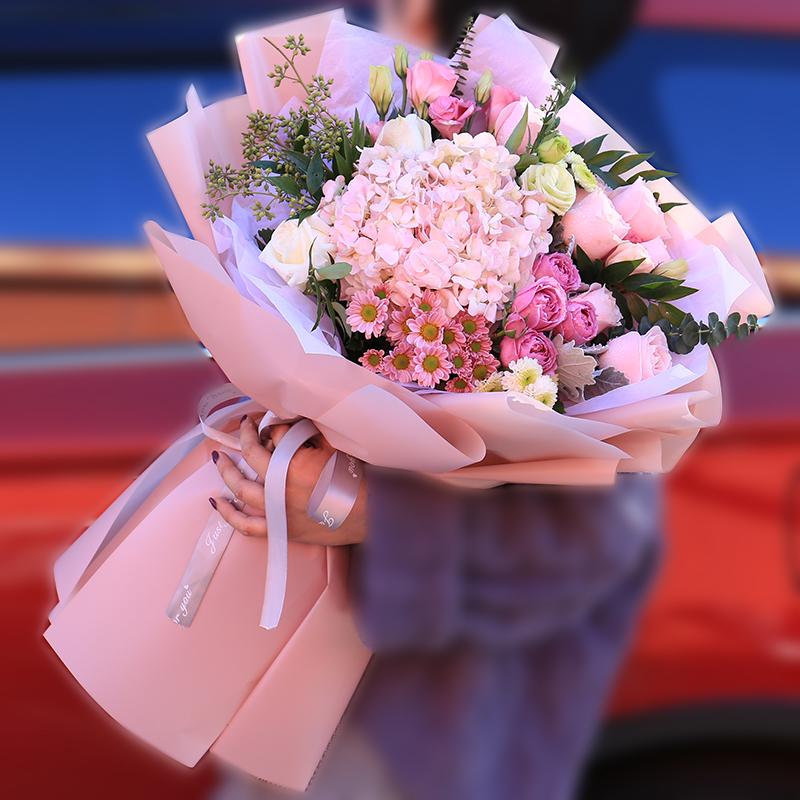 混搭粉玫瑰花束生日配送花店上门广州杭州上海北京同城鲜花速递