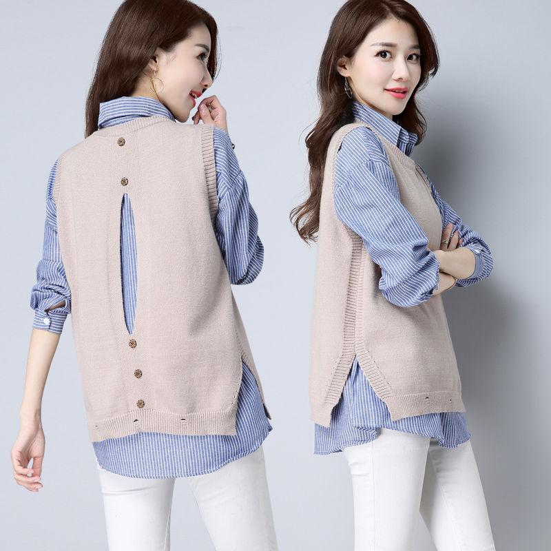 03单套装大码洋气显瘦条纹衬衫毛衣马甲背心女宽松无袖针织两件套