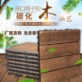 阳光房花园阳台木板防腐木地板户外板材露台拼接庭院地面铺设铺装图片