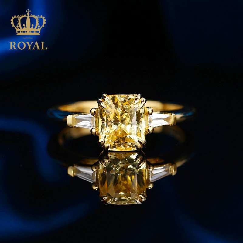 Royal jewelry 2.23ct Yellow Sapphire Ring Diamond 18K gold inlay can be customized to send to girlfriend