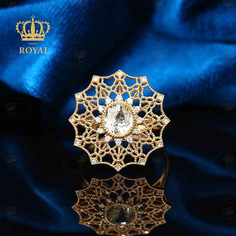 Royal natural yellow sapphire ring 1.21CT Diamond 18K womens ring