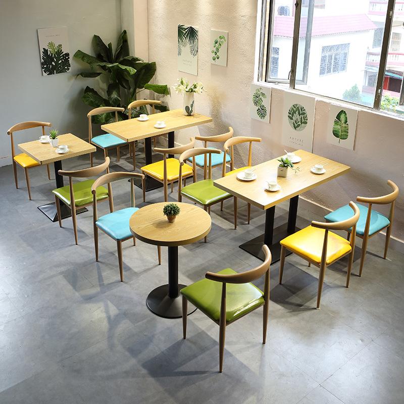 快餐桌椅简约小吃饭店咖啡甜品清新冷饮奶茶店桌椅组合铁艺牛角椅