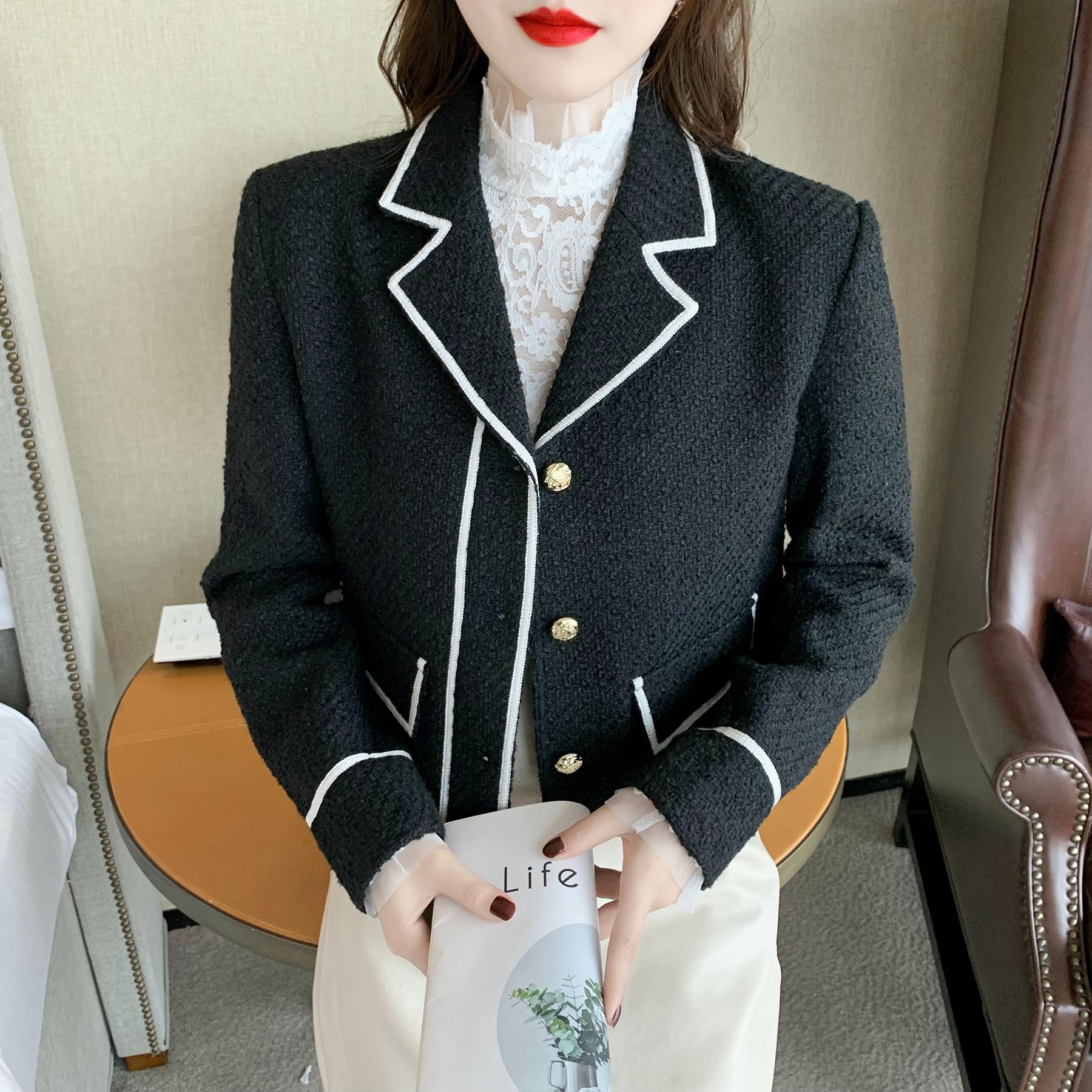 实拍2021秋季新款百搭黑色小香风西装外套女长袖高级感单排扣上衣