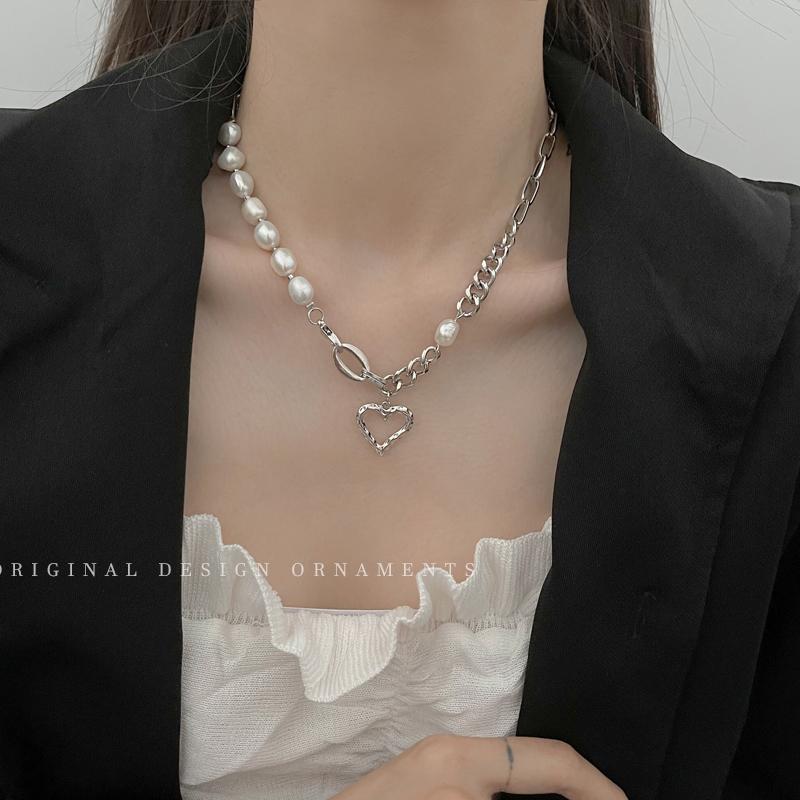 天然珍珠爱心拼接项链女轻奢小众气质高级感锁骨链夏天百搭脖颈链