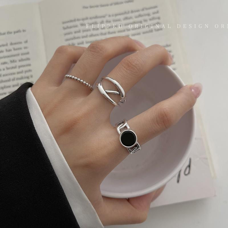 不规则三件套戒指女潮酷ins冷淡风开口食指戒时尚个性设计感指环