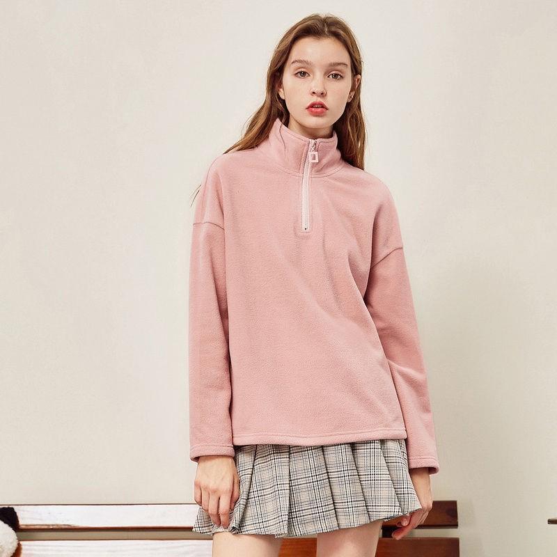 Womens sweater 2021 spring new fleece half cardigan loose high neck long sleeve sports top fashion
