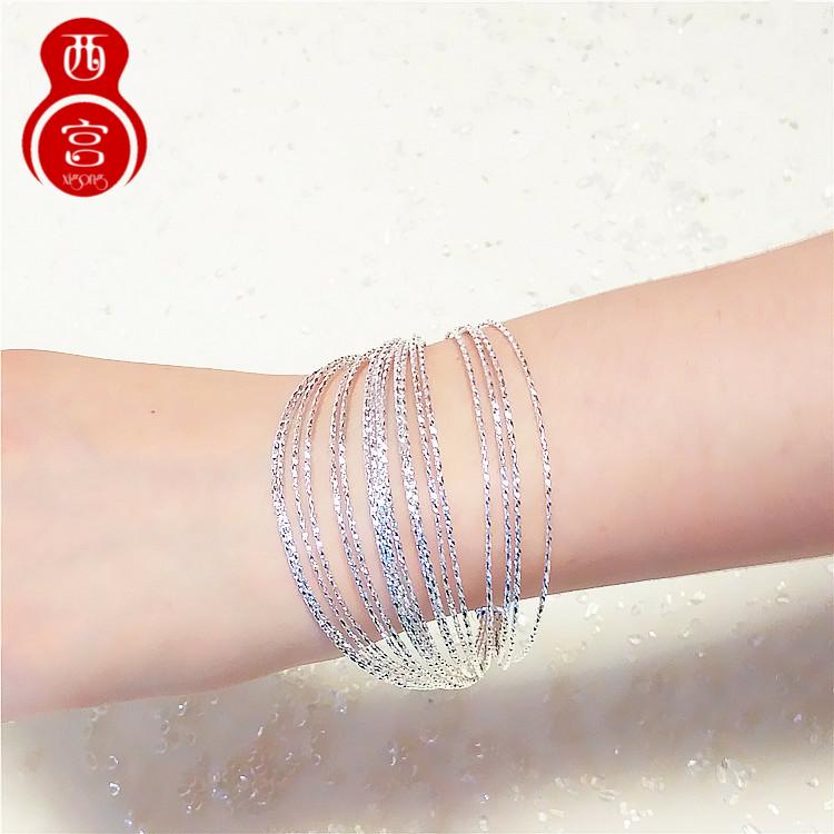 925纯银手镯女多线圈环多层7手环