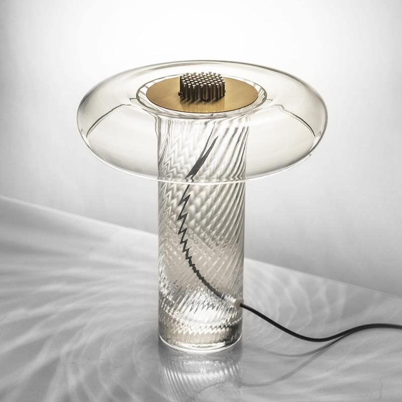 北欧创意花纹玻璃客厅台灯现代简约书房书桌床头卧室轻奢台灯