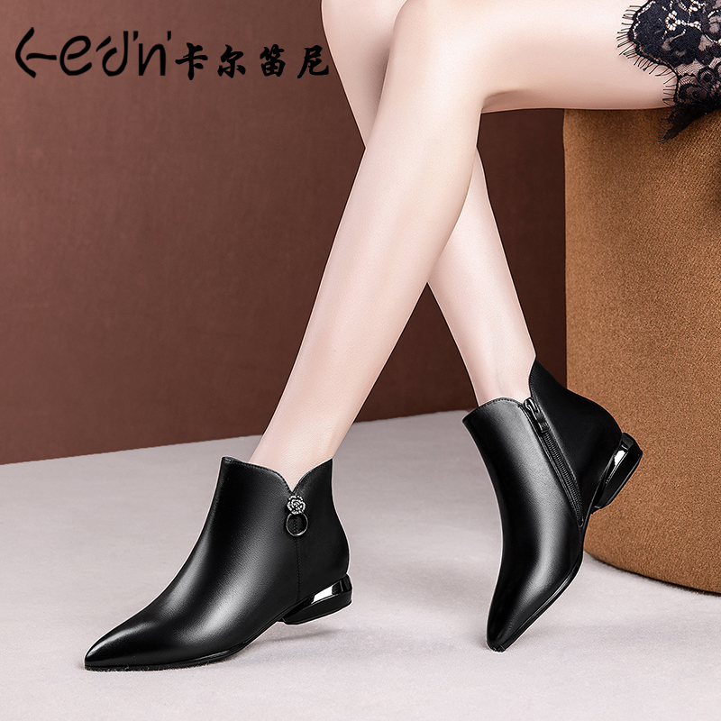 2020 new autumn flat small short boots female pointed toe low heel large size leather female boots spring and autumn single boots female ankle boots