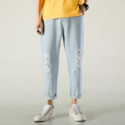 2020春裝新款破洞時尚寬松直筒牛仔褲QT5001-K292-P45 控88