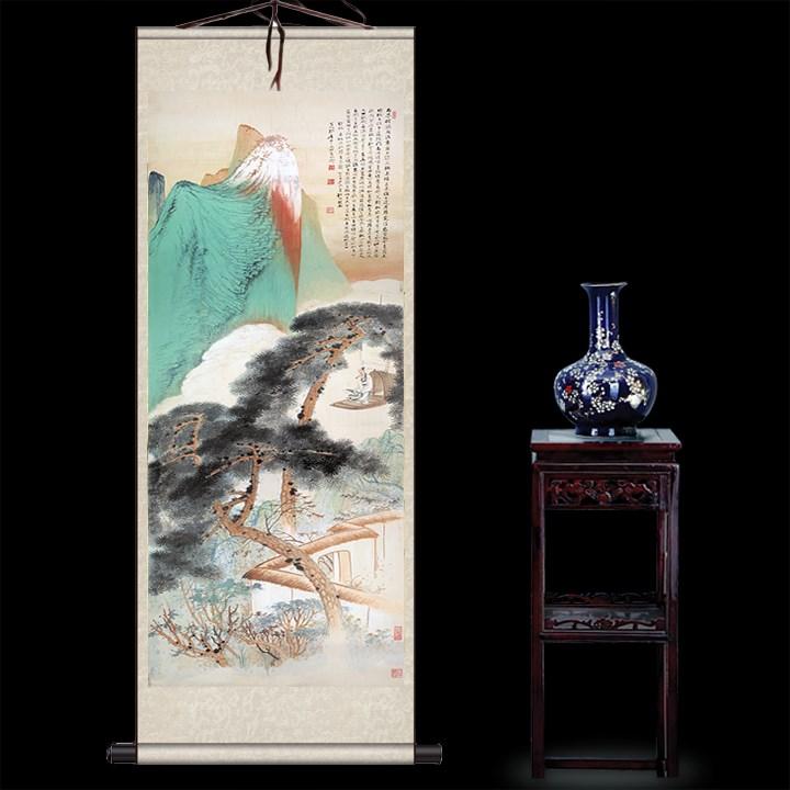 名家书画作品茶楼书房装饰画画心定制卷轴画丝绸画张大千青山绿水