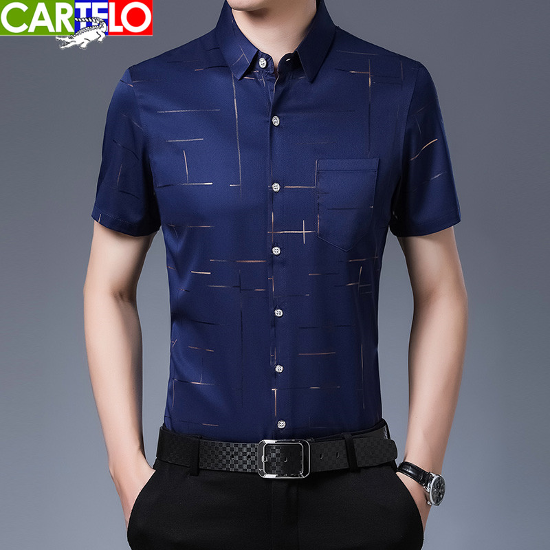 Cartier crocodile spring and summer mens business casual no iron shirt fashion bronzing short sleeve shirt middle-aged half sleeve