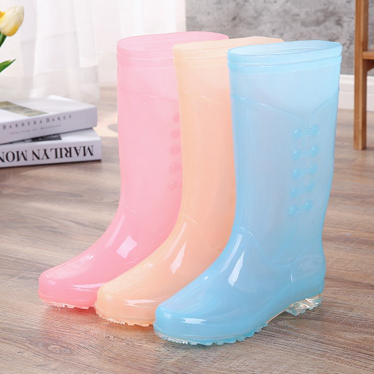 成人雨鞋女透明糖果时尚防水胶鞋女雨靴高筒防滑防水时尚水鞋水靴