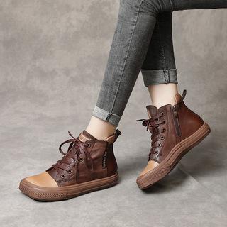 软底舒适短靴女2021秋季新款英伦风真皮方头平底软底女靴高帮女鞋