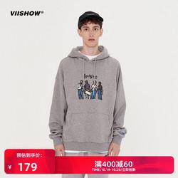 viishow2020秋季新款卫衣男 嘻哈潮流加绒连帽衫卡通印花学生情侣