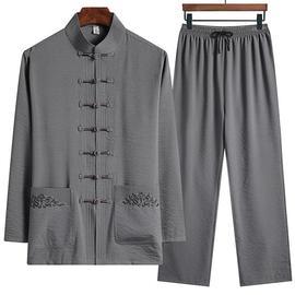 唐装男中老年薄款爸爸装老人衣服爷爷夏装冰丝长袖套装中国风汉服