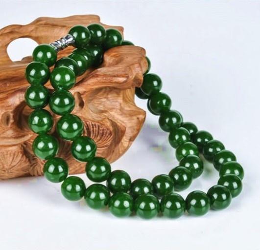 玉翡缘和田玉碧玉圆珠项链菠菜绿女款6和8和10mm玉石项链 链子