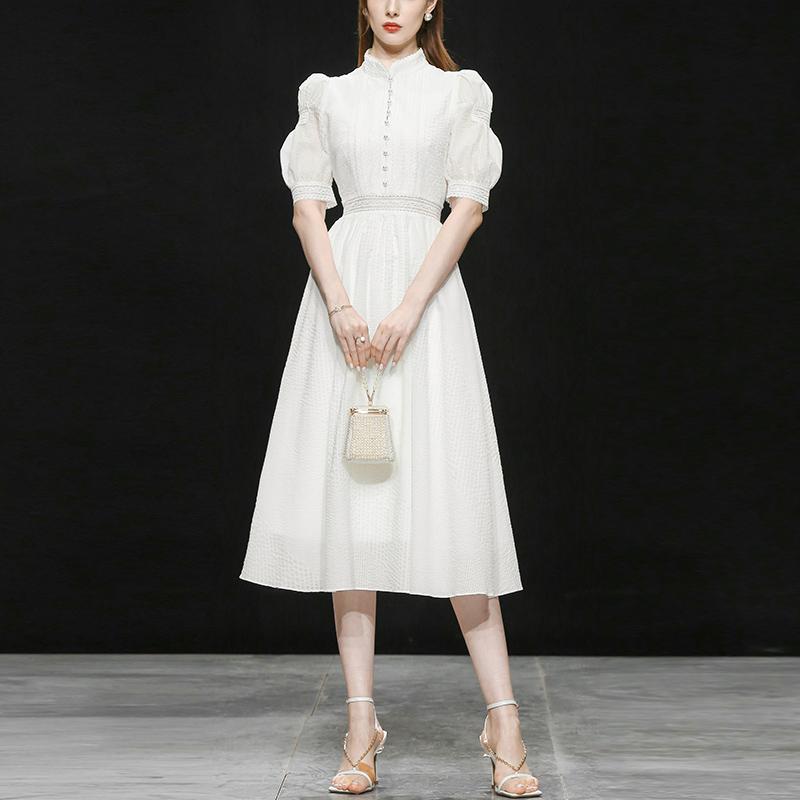 2021新款夏装女装气质复古泡泡袖长裙白色收腰中长款连衣裙裙子女
