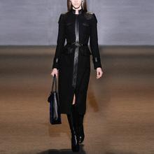 Black retro slim wool cloth jacket women's thicker medium-length wool overcoat autumn and winter women's wear new style 2019