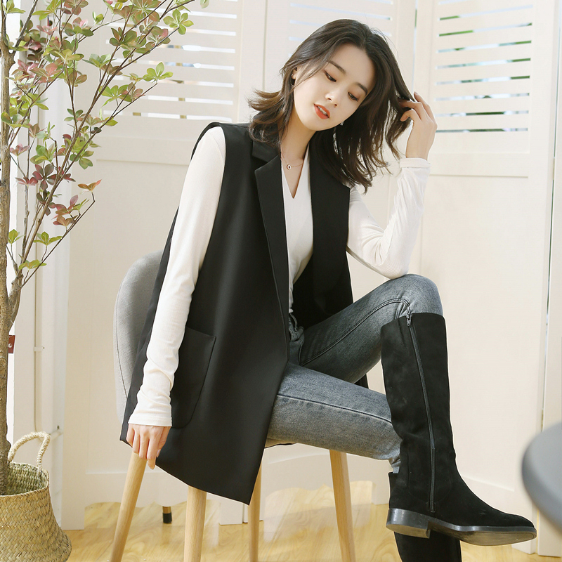 Suit waistcoat womens spring and autumn sleeveless coat net red vest with trendy medium long jacket