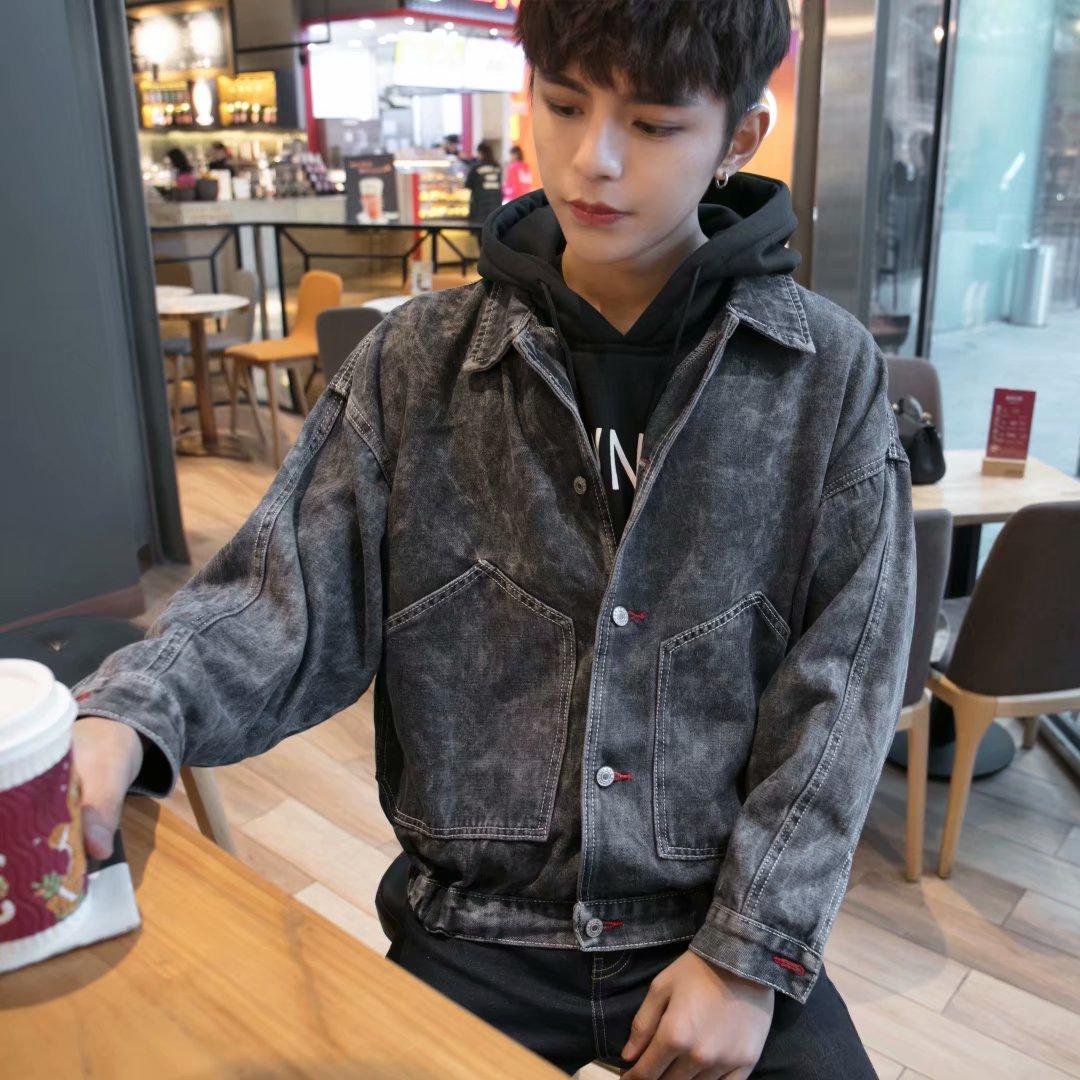 春と秋の男性コート2019新型韓国版の流行は破れています。カッコイイカウボーイジャケット、ゆとり学生服です。