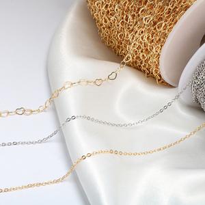 铜镀真金14K爱心细链条项链流苏发簪手链diy手工饰品耳环配件材料