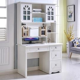 简约欧式电脑桌白色烤漆家用台式儿童写字台带书架现代多功能书桌