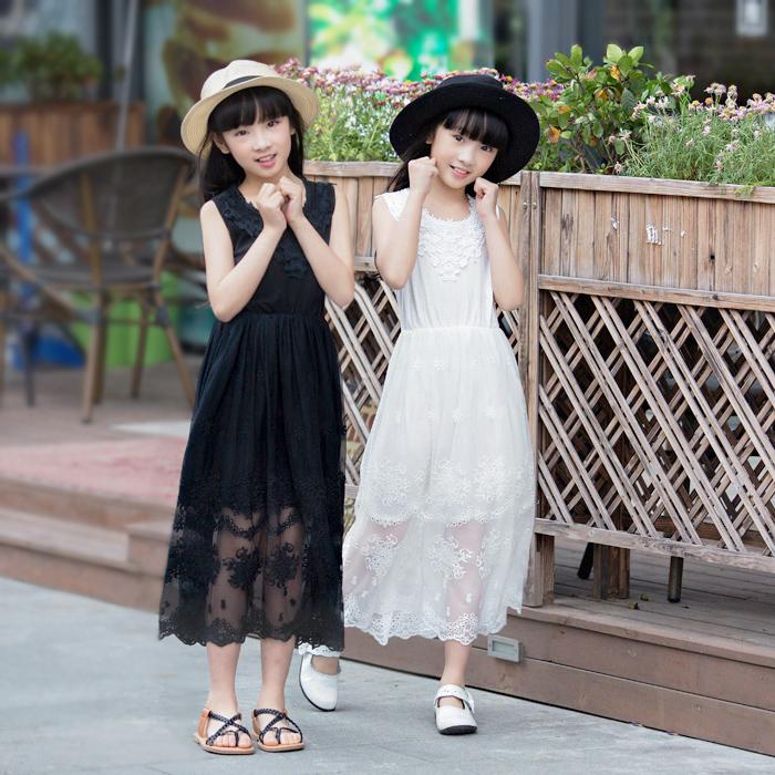 儿童女装连衣裙纯棉中长款夏装中童大女童长裙公主裙纱裙韩版白色