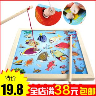 正品木意天使 木制钓鱼玩具 小猫钓鱼 平面拼盘 拼图 磁性玩具