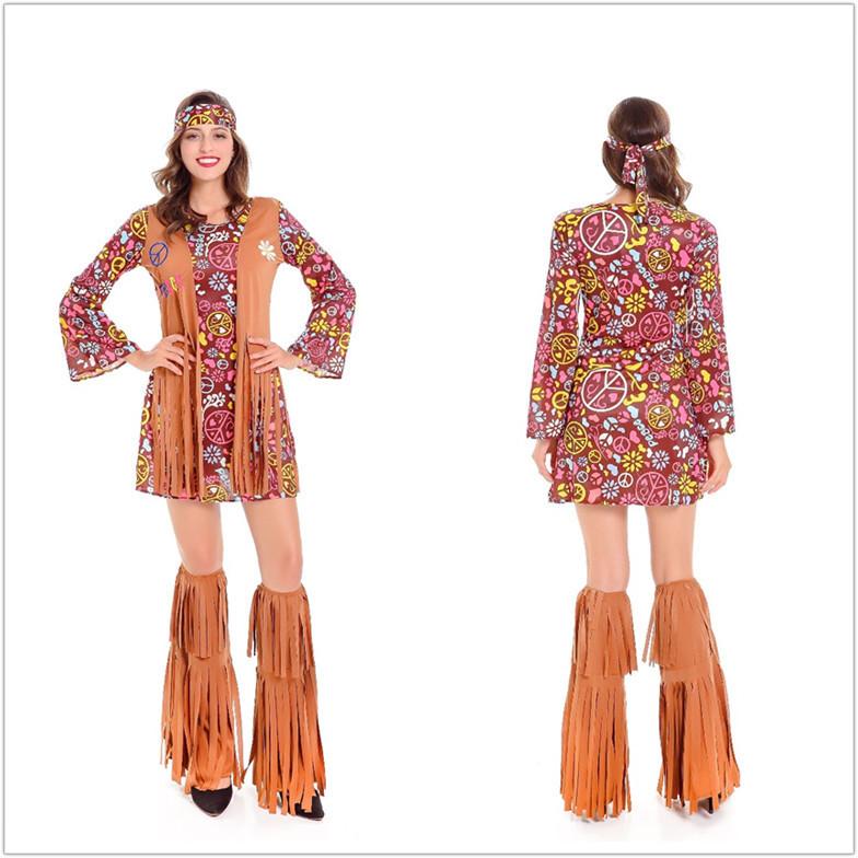 新款万圣节嬉皮士演出服cosplay印第安人非洲土著原始野人女酋长