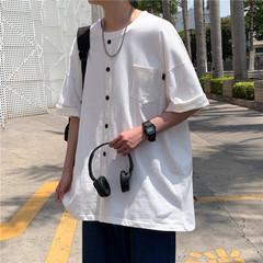 港风夏短袖T恤假纽扣纯色宽松百搭五分T恤衫T323 P35