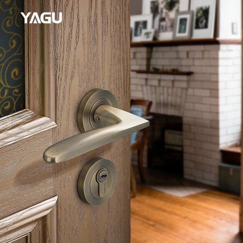亚固门锁室内房间门锁三件套实木卧室静音门锁美式分体青古铜门锁