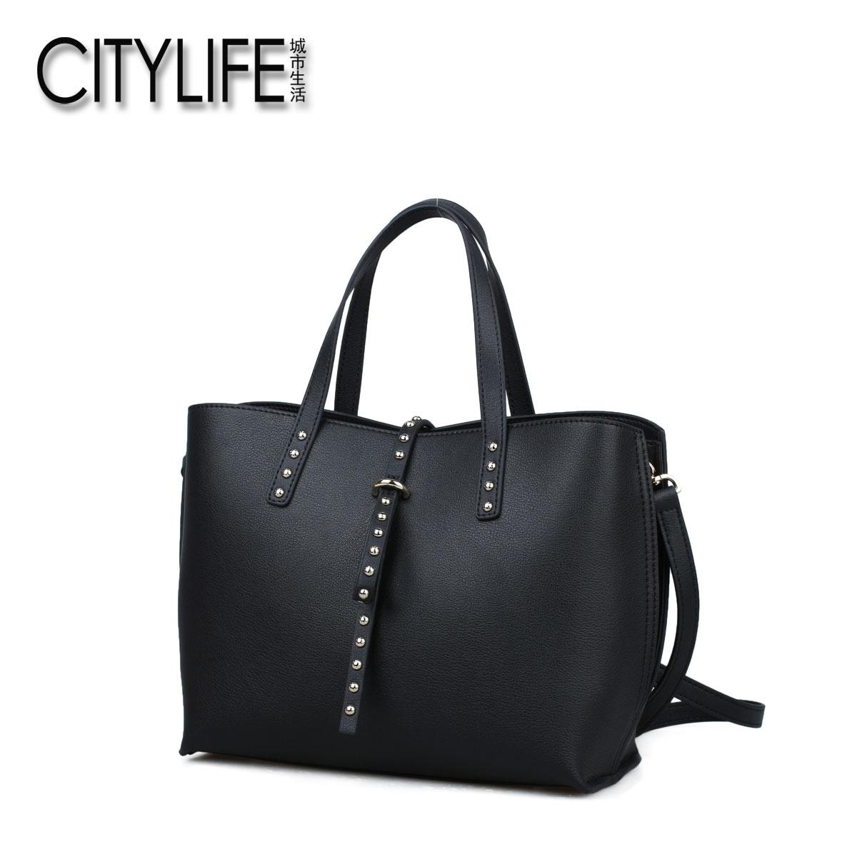 城市生活CITYLIFE包包新款牛皮�T�手提包�W美�L通勤女包