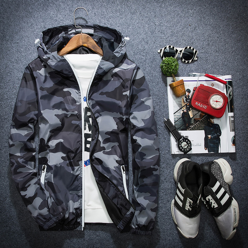 Black gray coat teenage boys jacket camouflage sports coat with hat junior high school college coat