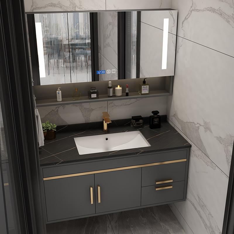 智能北欧实木轻奢岩板浴室柜小户型卫浴柜一体洗手盆柜组合洗脸盆图片