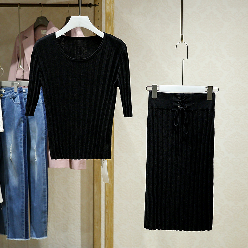 包邮【伊】纯色针织两件套圆领上衣半身裙套装女秋专柜折扣女装店