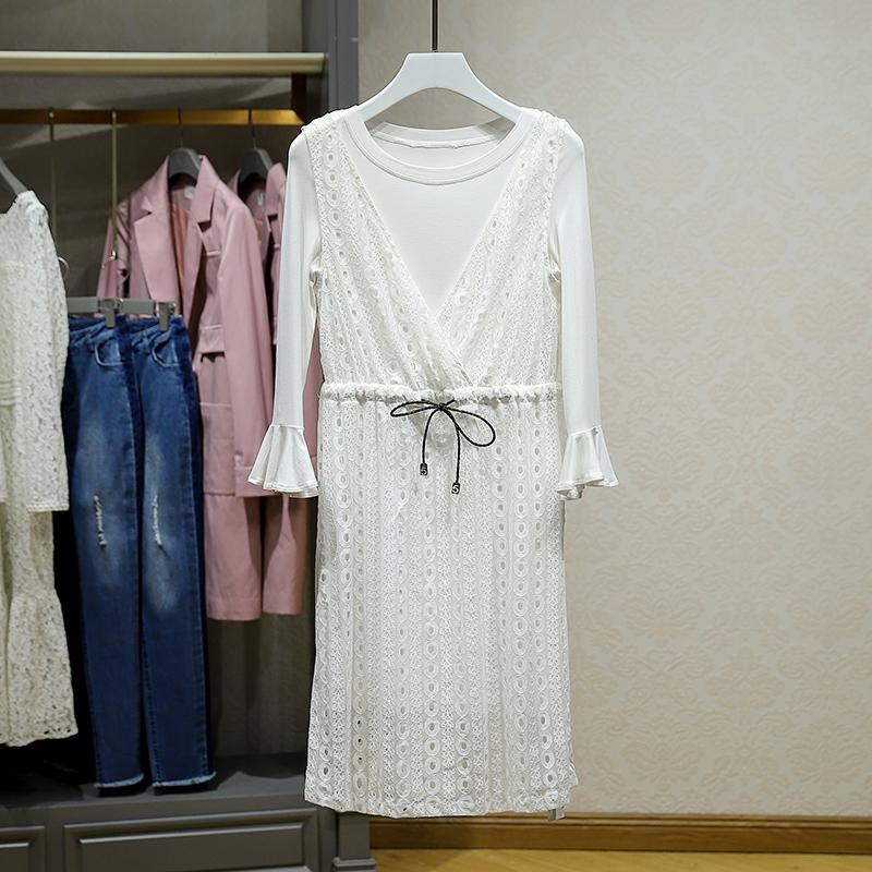 包邮【伊】港味纯色上衣蕾丝背带裙两件套2018秋装专柜折扣女装店