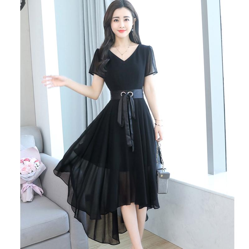 女装 2018夏新款收腰系带雪纺连衣裙中长款显瘦纯色不规则长裙子