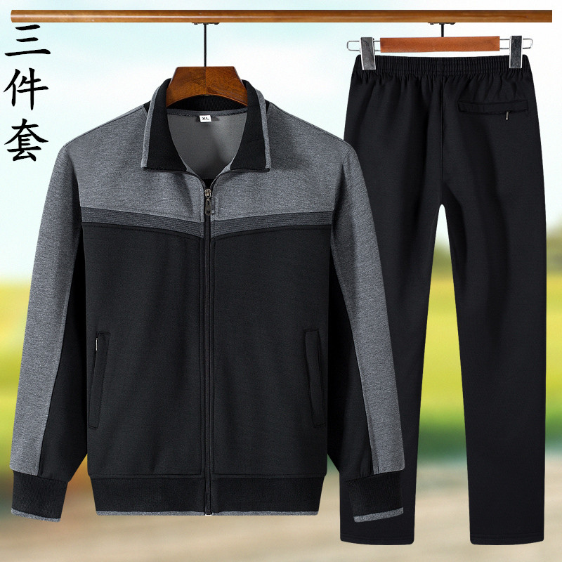 Spring and autumn sports suit for middle-aged and elderly mens father loose size leisure three piece suit for elderly long sleeve sportswear