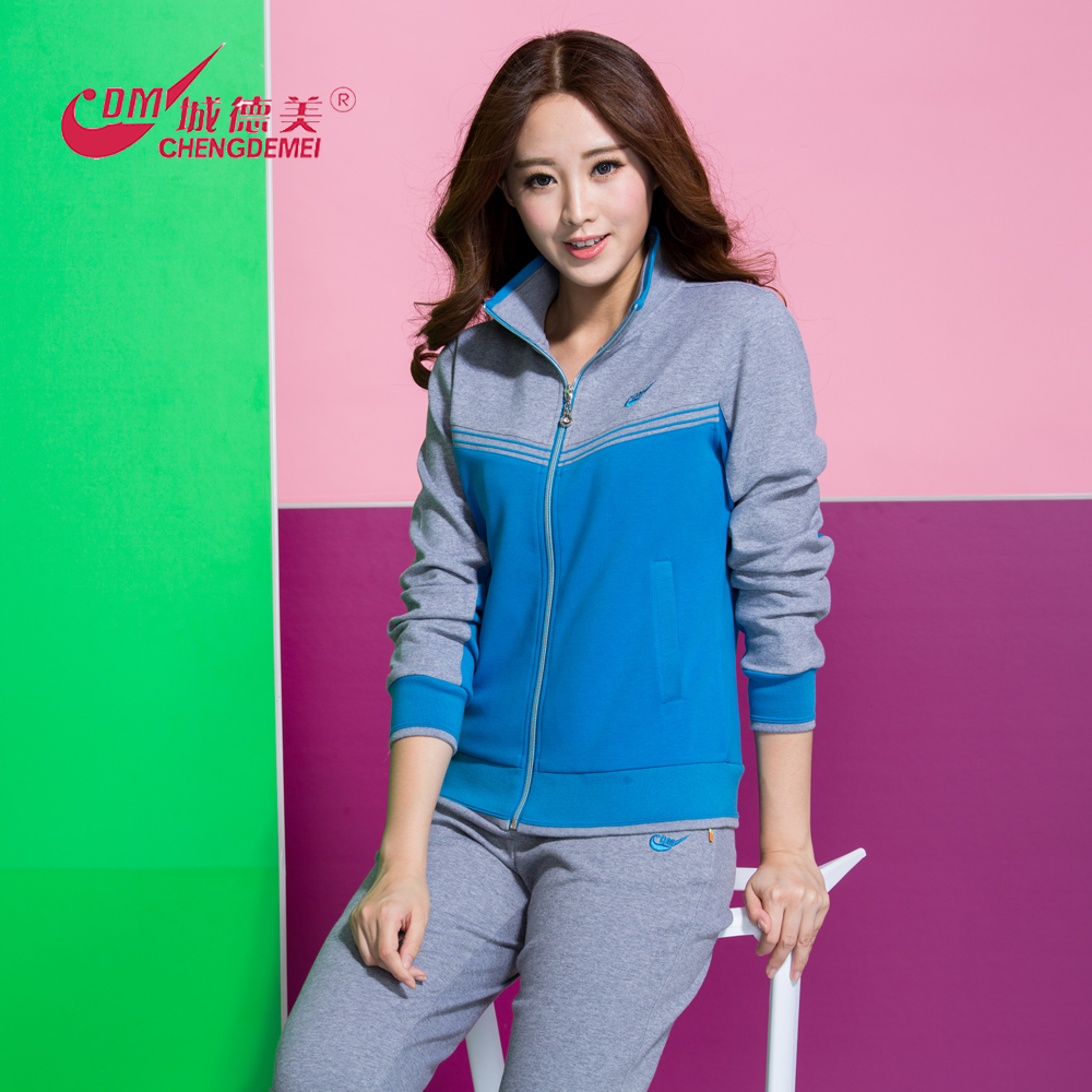 Chengdemi spring womens Roman cotton standing collar Lapel sportswear middle aged womens fashion leisure suit 35021
