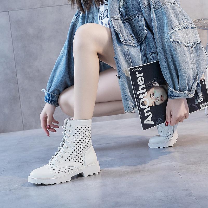 显脚小透气洞洞凉靴女中跟2020新款高帮女靴镂空女鞋真皮凉鞋女夏图片