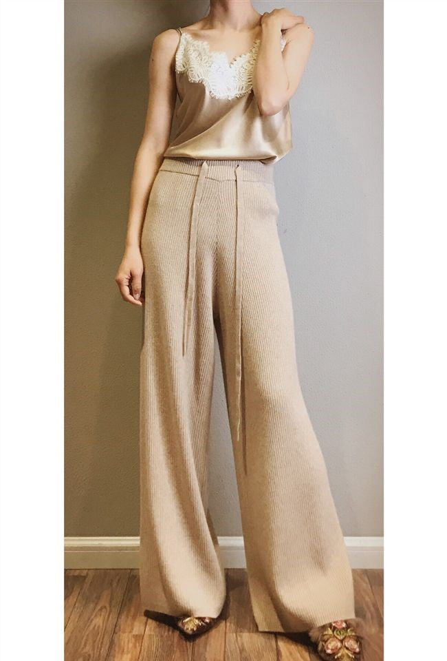 20 cashmere wide leg pants womens high waist autumn winter pants casual loose lengthened Wool Pants Large Size knitted wool pants~